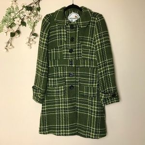 Anthro Nick and Mo Green Plaid Coat size Large